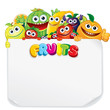 Funny Cartoon Fruits with Blank Paper Sign