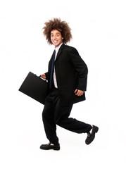 Hombre de negocios estilo afro corriendo.