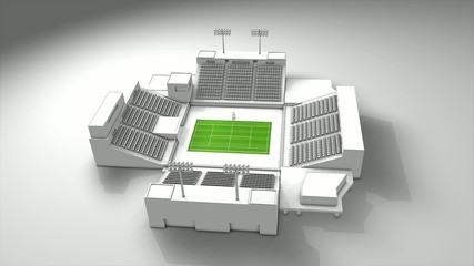 Tennis sport stadium, 360 animation.