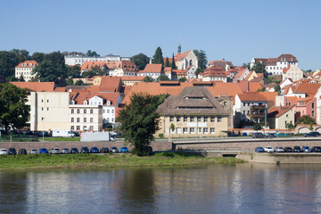 Cityscape of Meissen in Germany with the Elbe river