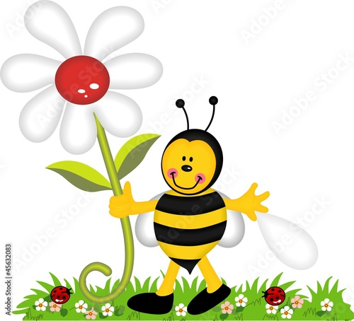 Happy bee holding flower in garden