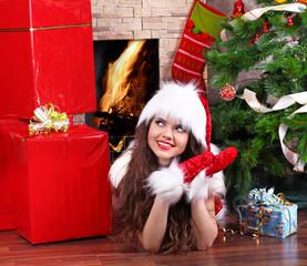 Christmas, Girl wearing in Santa Claus