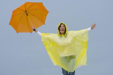 Happy woman in rainy season