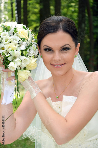 beautiful bride with a bouquet