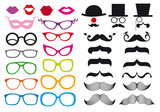 mustache and spectacles, vector set