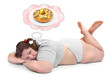 Hungry overweight woman dreaming.