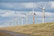 Wind turbines along a Dutch dike near Urk