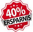 Sticker / Aufkleber / Prozent / Rot - 40%
