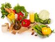 Fresh vegetable on wooden boards.