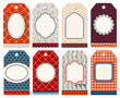 8 Retro Christmas Hangtags Red/Blue/Beige