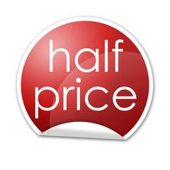 Pegatina reja con texto half price con reborde