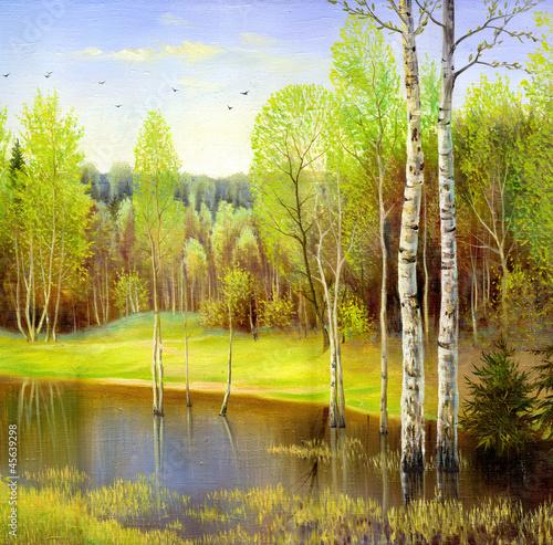 autumn landscape, canvas, oil - 45639298