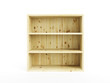 isolated empty wooden bookcase