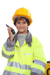 schoolboy dressed as foreman