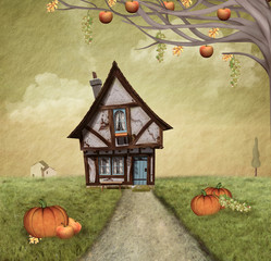 Autumnal country house - painted style
