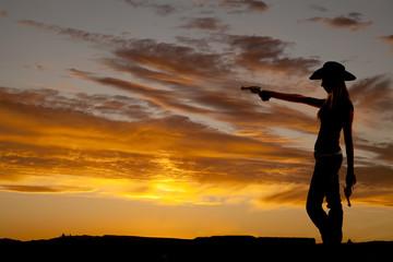 woman point gun silhouette
