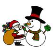 Cartoon Santa Claus and snowman.