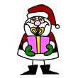 Cartoon Santa Claus hand writing.