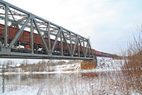 freight train on railway bridge