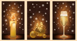 Set golden christmas banners, vector illustration