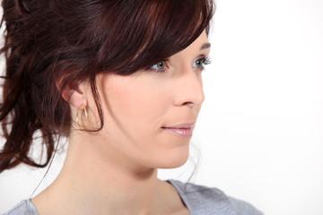A portrait of a brunette.