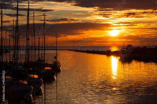 harbour and the yachts at sunset © romantsubin
