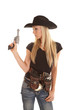 cowgirl hold up pistol