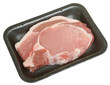 Raw Pork Loin Steak in Packaging Tray