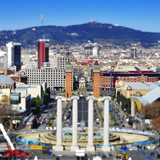 faked tilt shift of of placa de Espanya in Barcelona, Spain