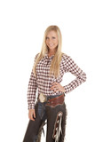 cowgirl plaid shirt and chaps poster