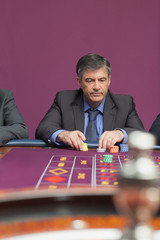 Man concentrating on roulette