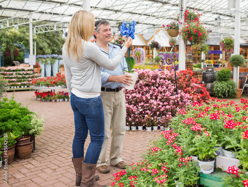 Couple searching for plants in garden centre