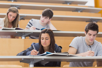 Students sitting at desks in lecture hall