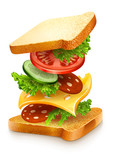 exploded view of sandwich ingredients with cheese, tomatoes,