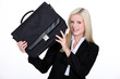Businesswoman holding a briefcase
