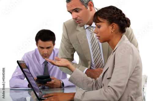 Office workers with a laptop