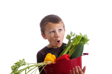 Little boy holding basket of fresh vegetables