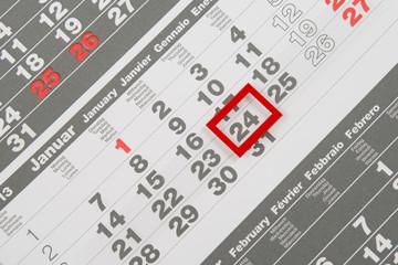 Kalender mit markiertem Datum