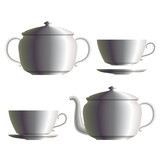 Set of porcelain tea cup, teapot, sugar pot and saucer. Eps10