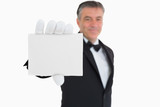 Waiter showing a card
