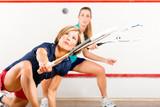 Fototapety Squash sport - women playing on gym court