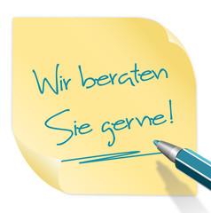 Zettel gelb Stift Beratung