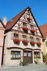 Typical house in Dinkelsbuhl, Bavaria - Germany