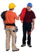 Tradesmen shaking hands in agreement