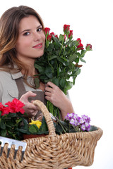 beautiful florist holding flowers