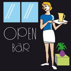 serveuse, serveur, bar, métier, restauration, servir,