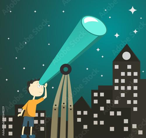 boy with telescope