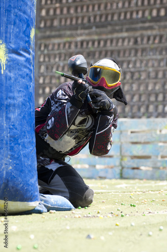 Paintball player in action