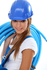 Woman carrying coil