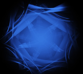 Abstract blue fractal lines on black background